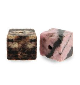 Natuursteenkraal kubus 8 mm antraciet vintage roze