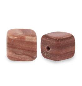 Natuursteenkraal kubus 8 mm redvein zacht bruin