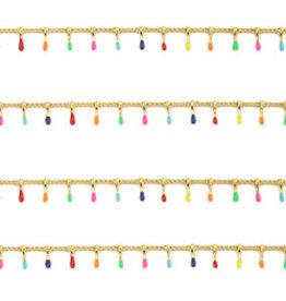 RVS ketting goud met gekleurde spikes