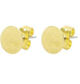 DQ oorsteker goud met plakvlak 8 mm (pp)