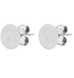 DQ oorsteker antiek zilver met plakvlak 8 mm (pp)