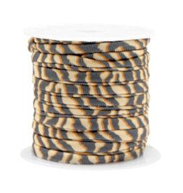 Elastisch lint stitched 4 mm tijger beigebruin (p/10 cm)