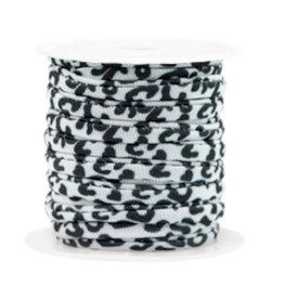Elastisch lint stitched 4 mm luipaard zwartwit  (p/10 cm)