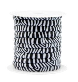 Elastisch lint stitched 4 mm zebra zwartwit  (p/10 cm)