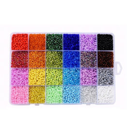 Doos rocaillemix 3 mm 24 kleuren