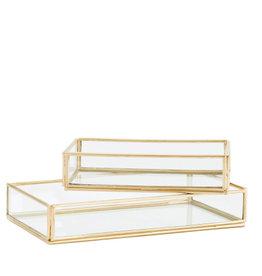 Madame Stoltz Glazen tray goud medium (set van 2)