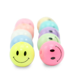 Ronde gekleurde smiley kralen 8 mm (10x)
