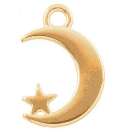 Bedel metaal gouden maan met sterretje (1x)