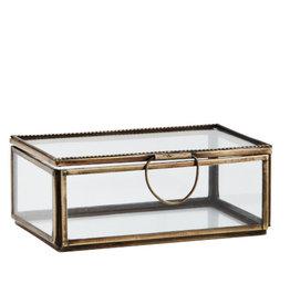Madame Stoltz Glazen doos antiek koper