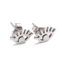 Oorknopjes rvs / stainless steel zilver oogje
