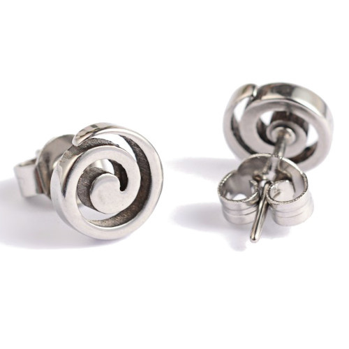 Oorknopjes rvs / stainless steel zilver spiraal