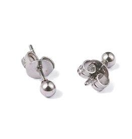Oorknopjes rvs / stainless steel zilver bolletje 3 mm