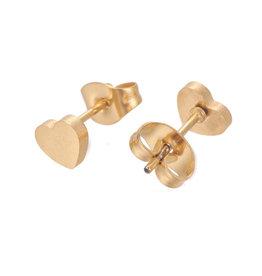 Oorknopjes rvs / stainless steel goud hartje