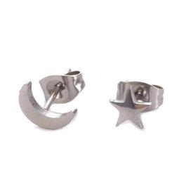 Oorknopjes rvs / stainless steel maan & ster