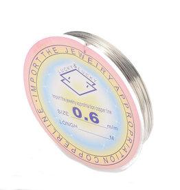 Koperdraad zilverkleurig 0,6 mm