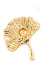 Ginkgo blad kandelaar goud