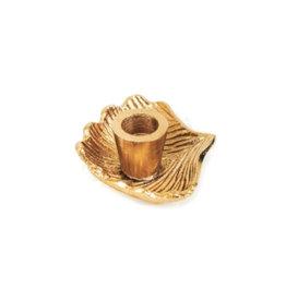 Ginkgo blad kandelaar goud klein