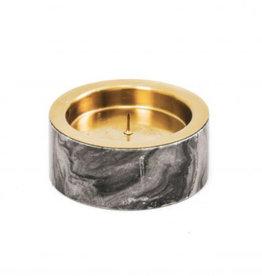 Kandelaar stompkaarshouder marmer grijs/goud