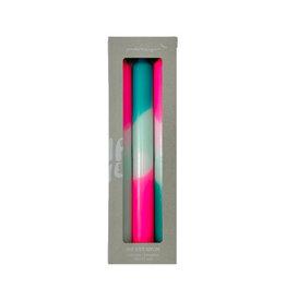 Pink Stories Dip dye neon kaarsen peppermint clouds