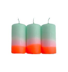 Pink Stories Dip dye neon stompkaarsen sorbet