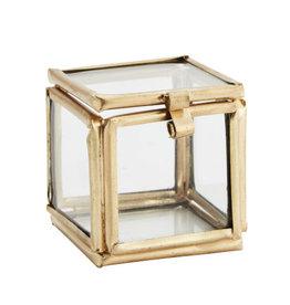 Madame Stoltz Glazen doosje mini vierkant goud