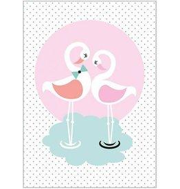 Sparkling Paper Kaart Flamingo love