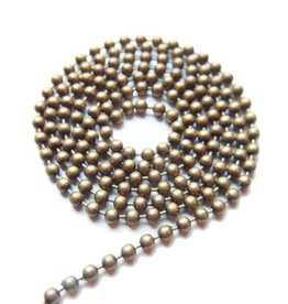 Ball chain antiek brons 2 mm