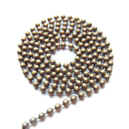 Ball chain antiek brons 3 mm