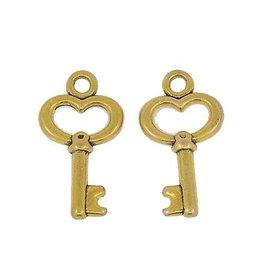 Bedel sleutel antiek goud (10x)