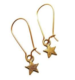 Gouden oorbellen met sterretjes