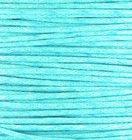 Waxkoord katoen turquoise blauw 1mm (5m)