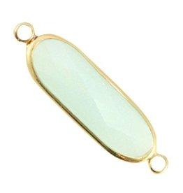 Tussenstuk crystalglas lichtgroen goud (1x)