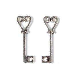 Bedel sleutel hartje zilverkleurig (10x)