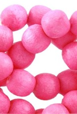 Houten kraal rond neon roze 8mm (19x)