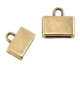 DQ metalen eindkap antiek brons 10 mm (1x)