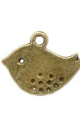 Bedel plat vogeltje antiek brons (2x)