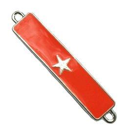 Tussenstuk bar met ster oranjerood/zilver (1x)