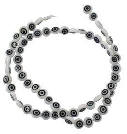 Glaskralen wit met zwart oog (15x of streng)