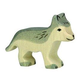 Holztiger Houten wolvenjong grijs