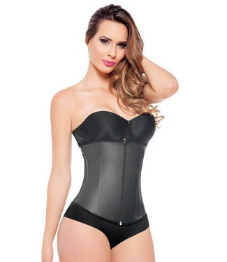 Ann Michell Latex Waist Trainer Zipper zwart
