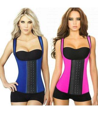Ann Chery Full Sport Vest Latex 3 Hooks Blue / Pink