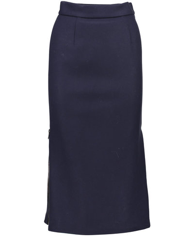 Moncler Zipper Plissé Skirt Navy