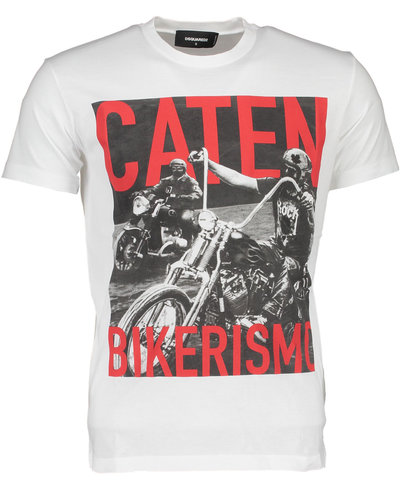 Dsquared2 Caten Fotoprint Cool Fit T-Shirt Wit