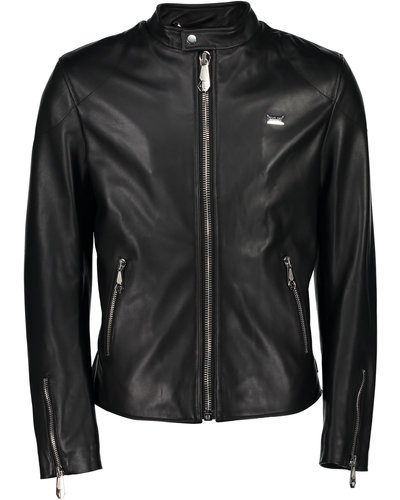 Philipp Plein Leather Moto Jacket Schwarz