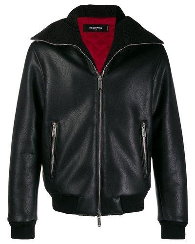 Dsquared2 Leather Faux Shearling Jacket Zwart