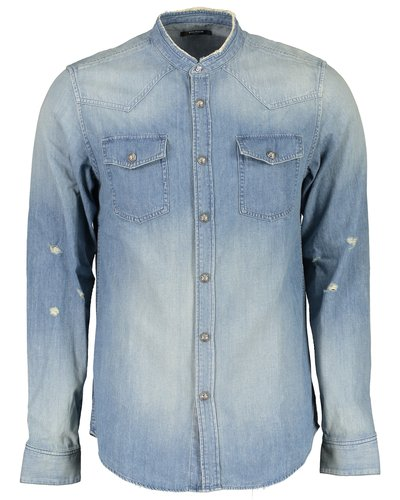 Balmain  Flock Denim Shirt Blue