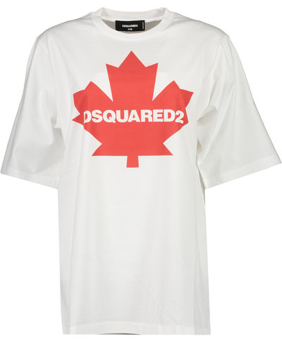 Dsquared2 Maple leaf Logo T-shirt Wit