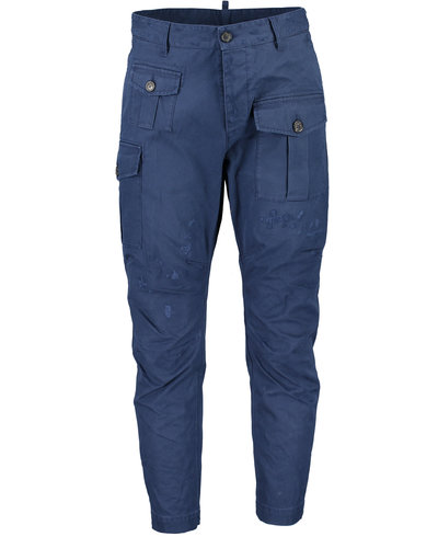 Dsquared2 Cotton Twill Sexy Cargo Fit Pants Marine
