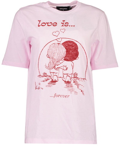 Dsquared2 Love Is T-Shirt Roze