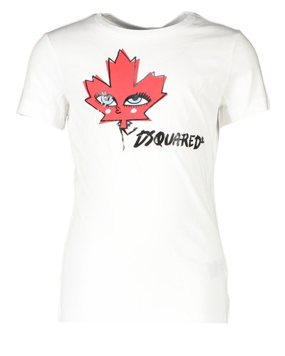 Dsquared2 Kids T-shirt Maple Leaf Wit